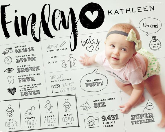 "8x10"" custom designed one year baby infographic style keepsake art (digital file only)"