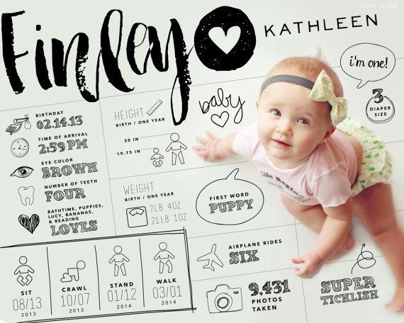 "8x10"" custom designed one year baby infographic style keepsake art (digital file only)"