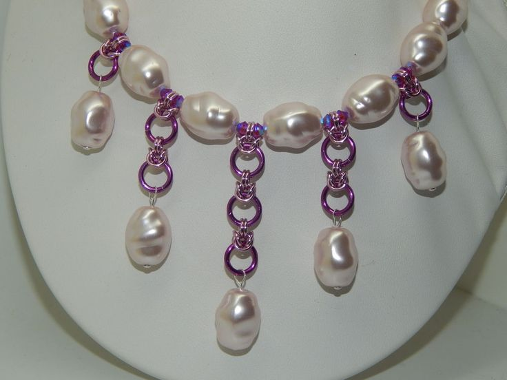 Czech Glass Pearls & Crystals on Chain Maille Necklace Set