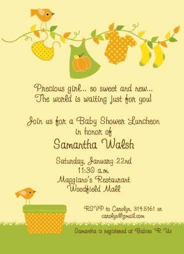 Fall Baby Shower – Girl invitations