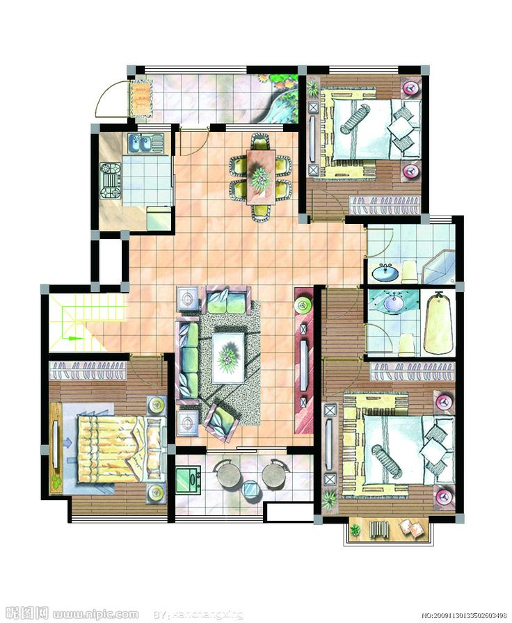 Two Dimensional Space It Is A Top Plan View Of The Interior Design