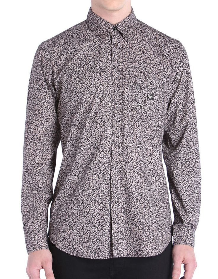 Diesel Mens Judyk Long Sleeve Floral Shirt Black/Pink Size Large BNWT