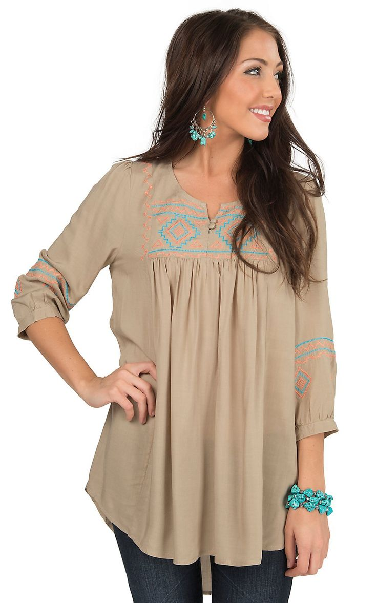 Umgee Women's Taupe with Aztec Embroidery 3/4 Sleeve Peasant Tunic Fashion Top | Cavender's