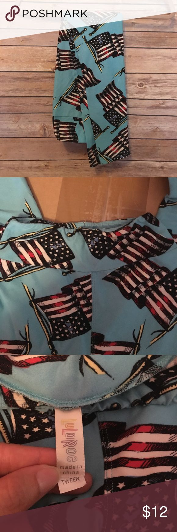 LuLaRoe Americana 2016 Tween Leggings Gently used LuLaRoe 2016 Americana collection leggings in Tween size. Turquoise background with American flags. Tween fits either girls size 12-14 or ladies size 00-0. The waistband seems to be a little puckered but not noticeable once they are on. I gained too much weight to fit into Tween size anymore. Smoke free but pet-friendly home LuLaRoe Pants Leggings
