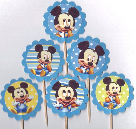 Baby Mickey Mouse Cupcake Toppers Birthday Party Decorations Set of 12 or baby boy shower