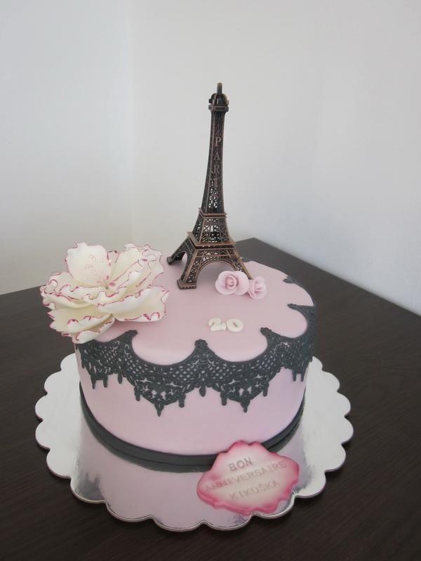 Eiffelova veža k 20-ke. Narodeninová torta, poťahovaná torta, Eiffelovka, Paríž, kvety.Tortyodmamy.sk.