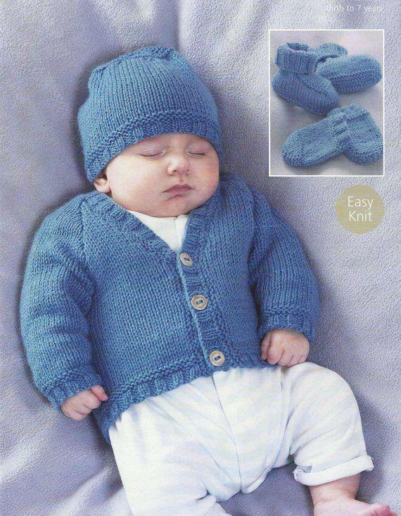 32d5f01b2a1fbe Baby knitting pattern Newborn Cardigan hat mittens and