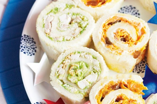 Roll up these exciting and delicious treats for the kids. Monkey tail sandwiches (Chicken and Avocado)