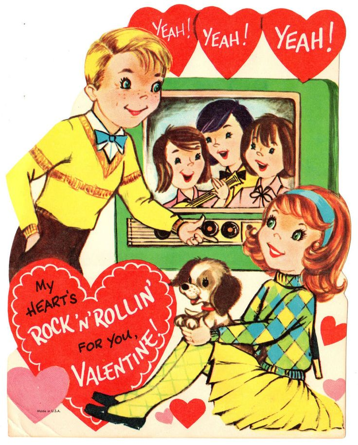 TEENS WATCH THE BEATLES SING ON OLD TELEVISION TV /VINTAGE UNUSED VALENTINE CARD