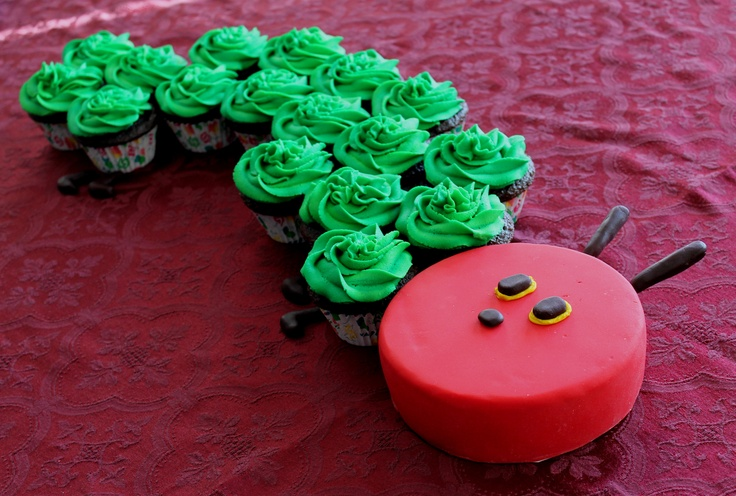 The very hungry caterpillar cake/cupcakes for a little girl's 1st birthday