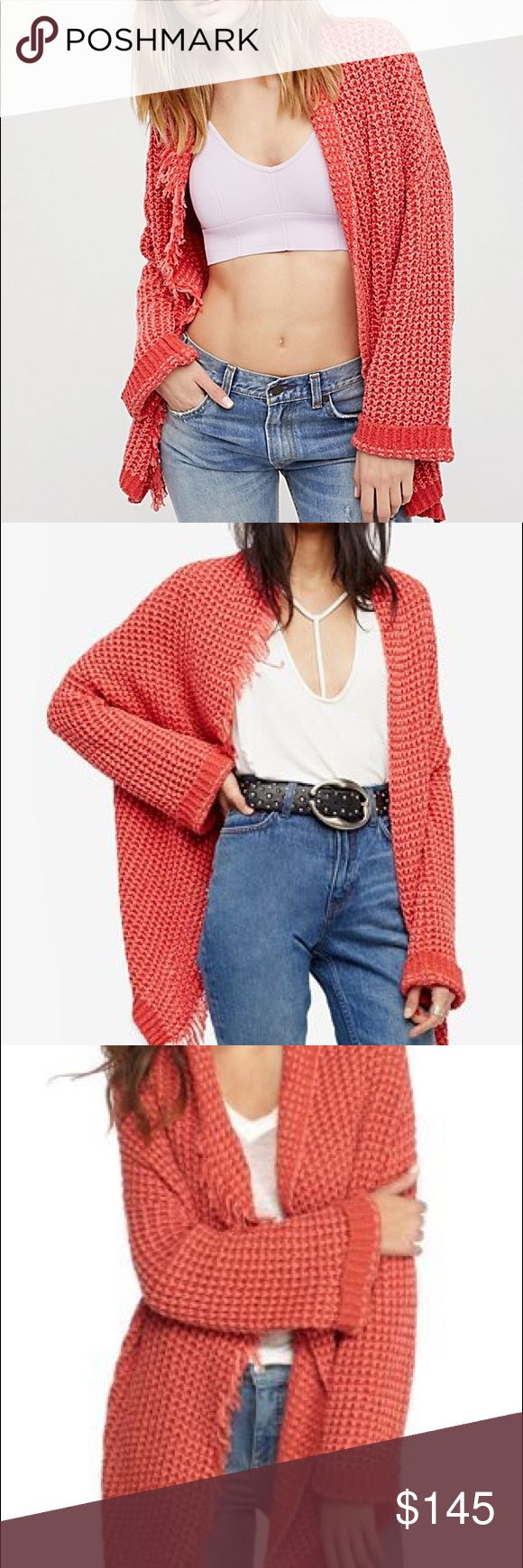 Free people cardigan NWT free people cardigan. Size medium. Color is orange/red. I will post a pic of the actual sweater when I get home! Free People Sweaters Cardigans
