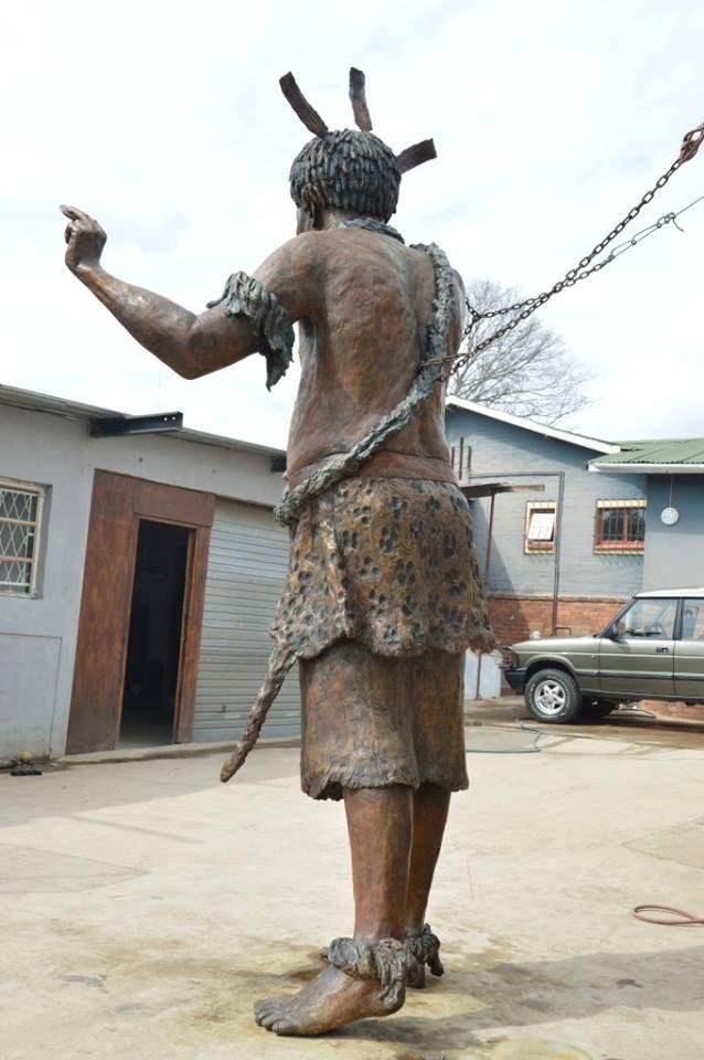 This is a bronze sculpture of King Sobhuza 1 (Somhlolo) 1815-1836. Ready to be transported to Manzini, Swaziland. www.sarahrichards.co.za #bronzebabe #sarahrichards