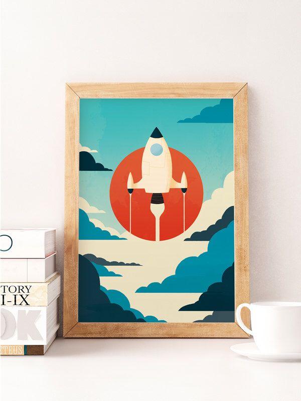 Vintage Wall Decor For Nursery : Space print spaceship art nursery wall