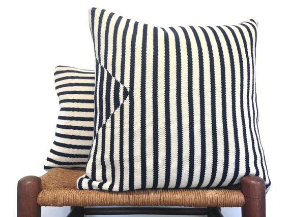 Stripe Knit Pillow Covers Cotton Up Cycled by ButtermilkCottage