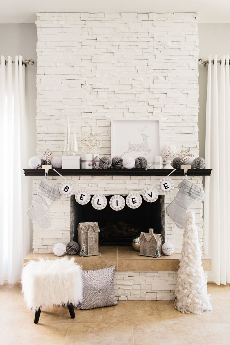 Gorgeous Glam Holiday Mantel Fireplaces White Stone Fireplaces And Mantles Decor