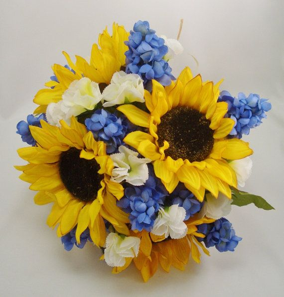 Sunflower and Muscari Bridal Bouquet Wedding by FlowersForThought, $90.00