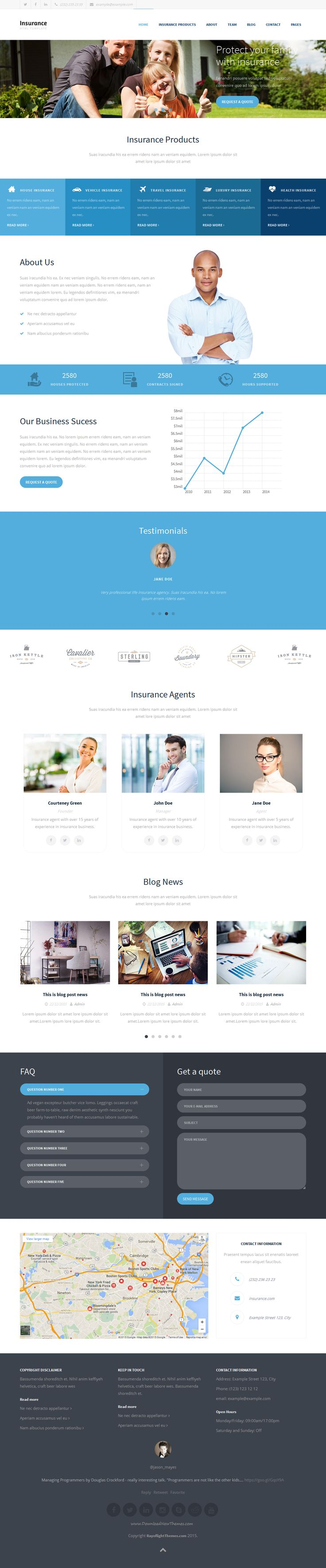 Clean and responsive HTML5 #website template for #insurance business or similar website. One page design + 7 inner pages, easy to create multi page website. Flexible and modern design.