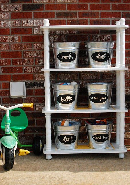 good idea for the shed or the garage (Get Rectangular galvanized buckets though, not round ones)