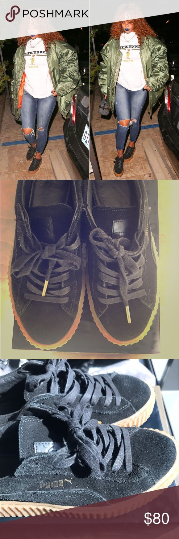 Rihanna pumas! Original color beige and black Rihanna pumas tan and black...sold out shoe!! *Authentic* Puma Shoes Sneakers