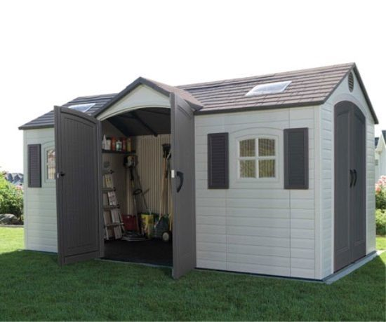 lifetime storage sheds 15 x 8 dual entry shed in home garden yard