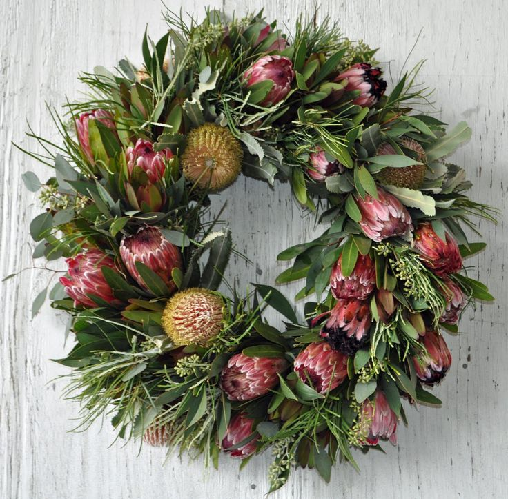 A wreath made from beautiful native Australian flowers.