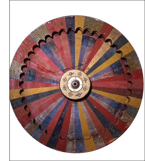 Carnival Gaming Wheel  Ohio, 1920-25  wood with polychrome  24 inches in diameterhttp://www.riccomaresca.com/archives/images/Archive256.jpg
