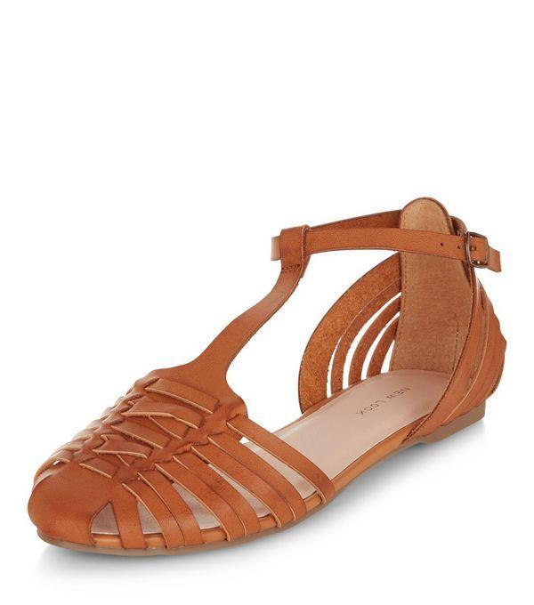 Tan Woven T-Bar Sandals    New Look
