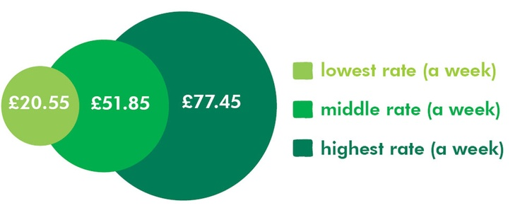 An infographic showing the three rates for the care component of the Disability Living Allowance benefit, for the financial year April 2012 to April 2013.