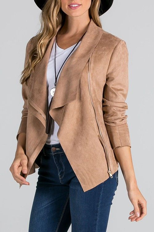 SOFT SUEDE DRAPE JACKET WITH ZIPPER .WE LOVE THIS FOR A PERFECT IN BETWEEN SEASON.100% POLYESTER
