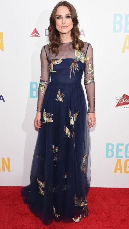 Keira Knightley wearing bird print Valentino dress on the red carpet. www.handbag.com