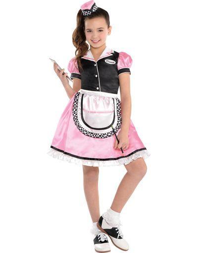 Girls Dinah Girl Waitress Costume - Party City