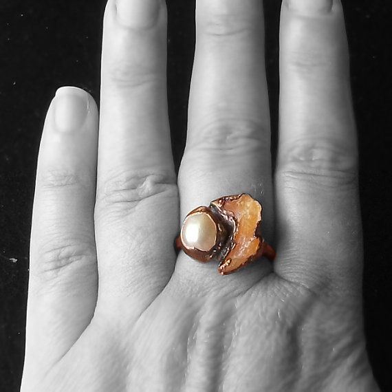 Opal Statement Ring Pearl Ring Gemstone Ring by MidwestAlchemy