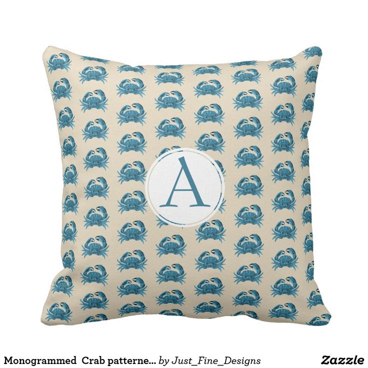This is such an elegant look Monogrammed Crab patterned in blue and tan Throw Pillow    The Crab in a modern blue color on a sand background echoing the ocean.    The Monogram is in blue in a modern font and can be removed if not wanted.