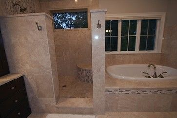 Doorless Shower Design Ideas - maybe the toilet where the tub is for our small upstairs bathroom