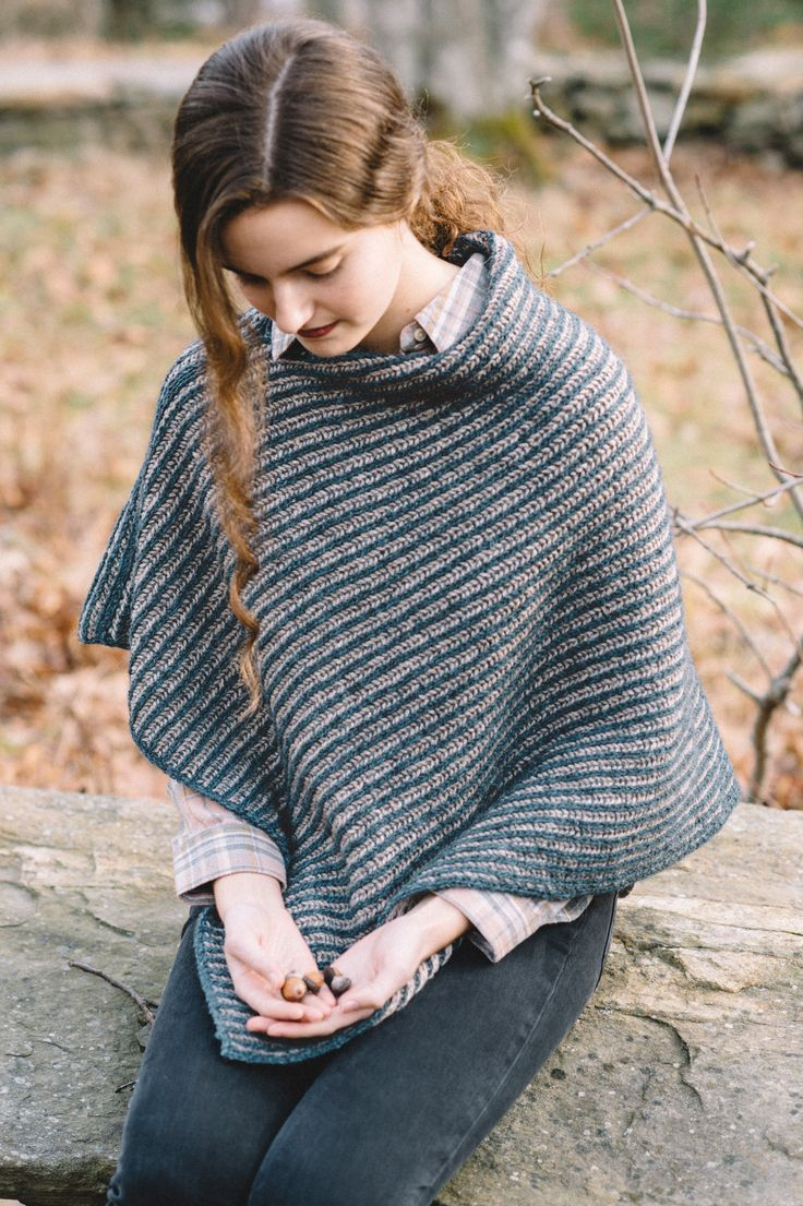 nascha poncho by andrea mowry for scarves, etc. 5 / in quince & co. owl and owl tweet