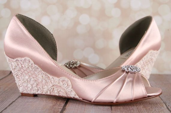 Blush Wedding Shoes / Lace Wedge Wedding Shoes / Lace Heel Shoes / Blush Bridal Wedges / Pearl Wedding Accessories / Custom Wedding Shoes