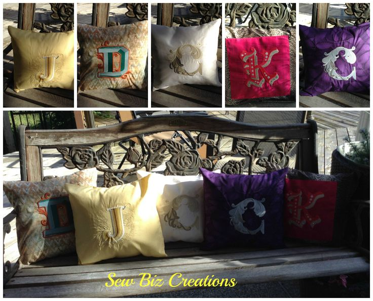 Monogrammed Pillows- available for 20.00.  Order your choice of color and letter.  email: sewbiz@shaw.ca   See more at Sewbiz by Michelle  www.facebook.com/MichellesSewbiz