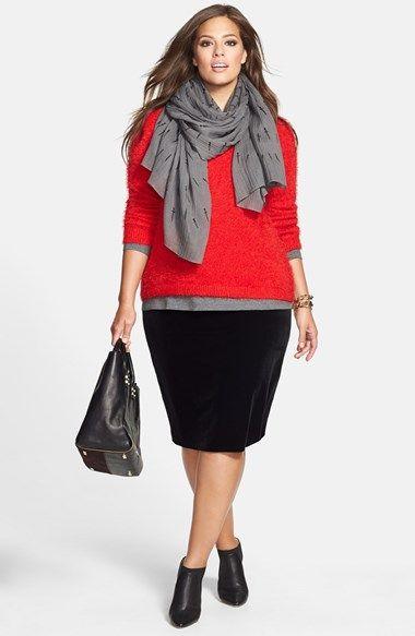 Vince Camuto Eyelash Yarn Sweater & Stretch Velvet Skirt (Plus Size)  available at #Nordstrom