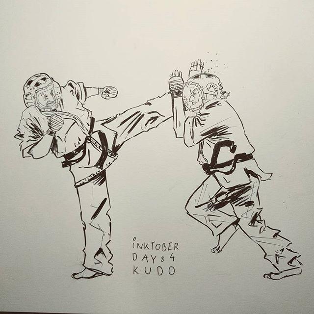 #inktober day 4: Kudo Daido Juku. #inktober2016 #inktober2go #kudo #kudodaidojuku #karate #fight #kick #illustration #drawing #drawingoftheday #martialarts