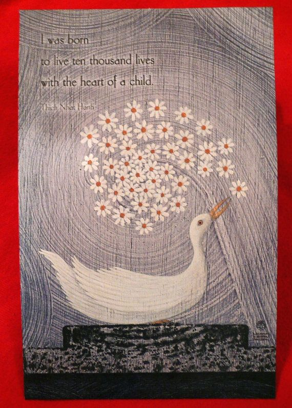 Thich Nhat Hanh Quote Zen Buddhist Monk Reincarnation Ten Thousand Lives Heart of a Child Daisies Bird Decoupage Art Book Covers  Mediation on Etsy, $8.00
