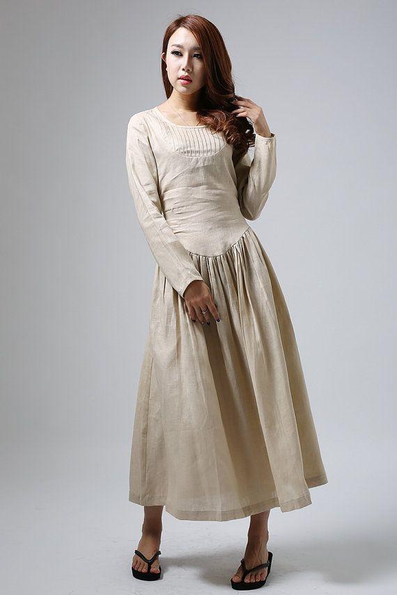 Casual long dress woman maxi linen dress long sleeve by xiaolizi, $99.00