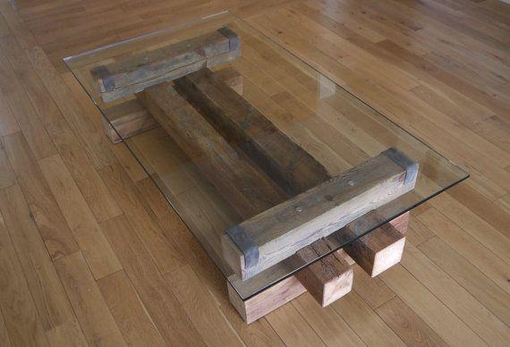 Reclaimed Wood and Glass Coffee Table. Barn Wood por TicinoDesign