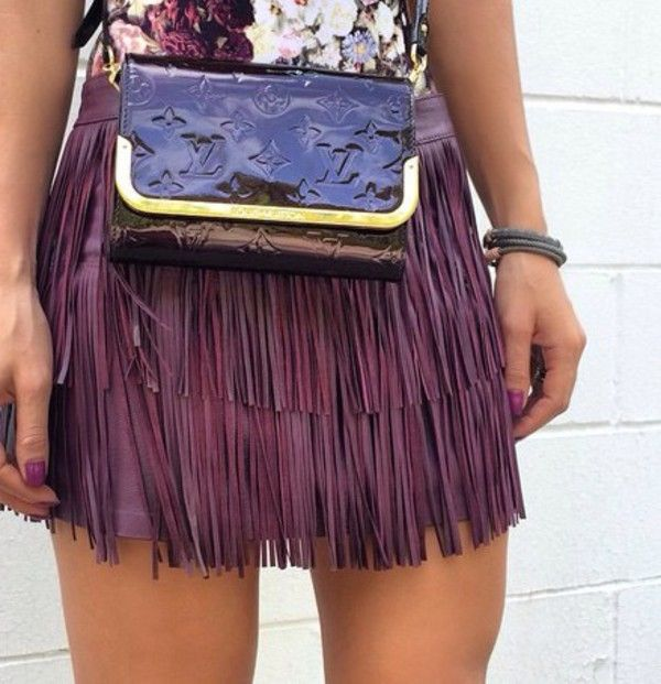 Purple fringe skirt