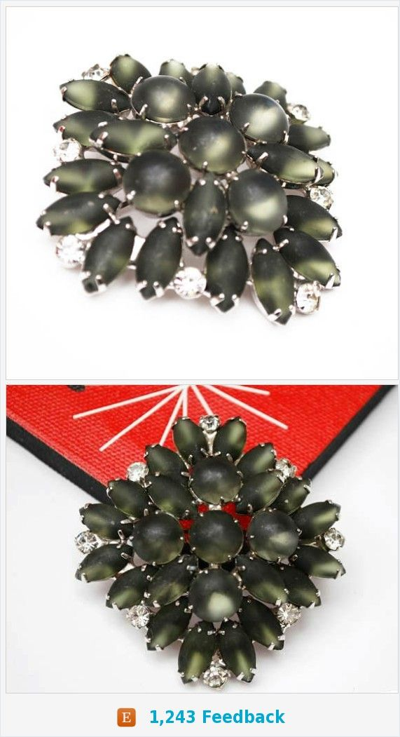Gray Glass Atomic Brooch - Grey moonstone cabochon - Clear rhinestone - domed silver metal Mid century pin https://www.etsy.com/serendipitytreasure/listing/512801946/gray-glass-atomic-brooch-grey-moonstone?ref=listing_published_alert