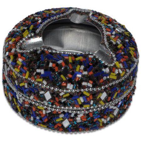 Multicolored Aluminium Beaded Ashtray from India