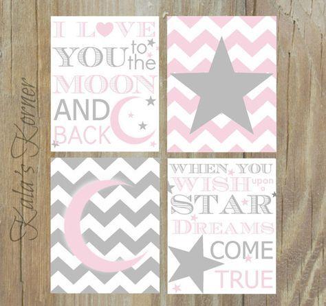 MOON And STARS NURSERY Pink Gray Nursery Pink by KalasKorner