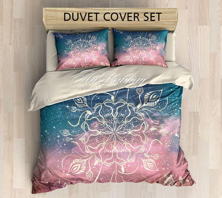 Bohemian bedding, Boho chic Mandala duvet cover set, cosmic mandala bedding set