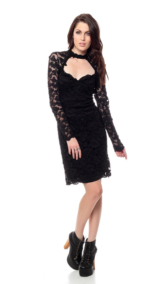 monroe black lace choker dress