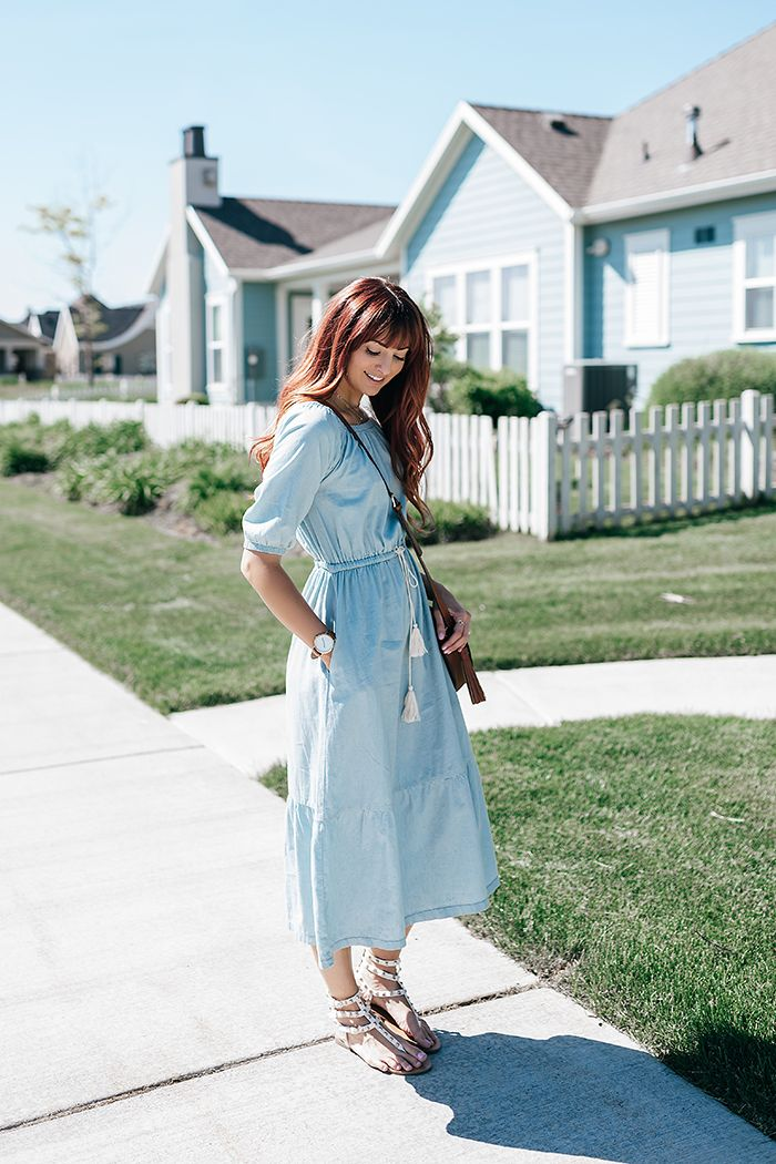 Poppy & Dot Denim Midi Dress - Little J Style