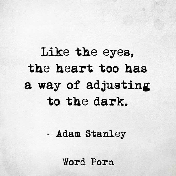 """""""Like the eyes, the heart too has a way of adjusting to the dark"""" Adam Stanley. Word porn"""